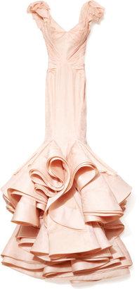 Zac Posen Preorder Organza Jacquard Ruffle Sleeve Gown