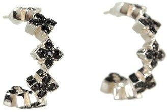 King Baby Studio Small Pav Black CZ MB Cross Hoops (Black Cz) - Jewelry