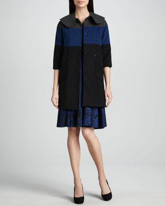 Melissa Masse Jacquard Scoop-Neck Dress