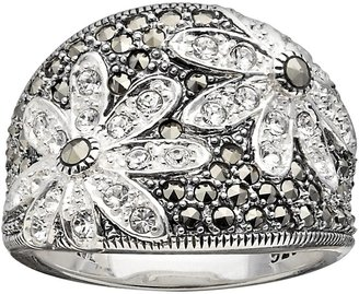 Swarovski Lavish by TJM Sterling Silver Crystal Flower Ring - Made with Marcasite