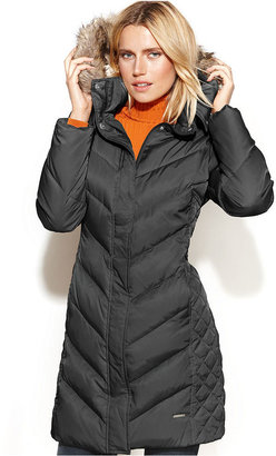 Kenneth Cole Reaction Hooded Faux-Fur-Trim Quilted Puffer Coat