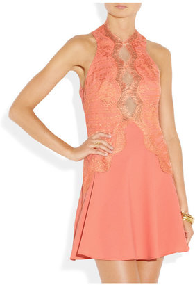 Lover Lace-detailed crepe mini dress