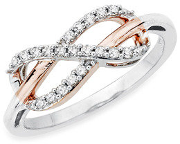 Bed Bath & Beyond Sterling Silver Two-Tone, 0.20 cttw Diamond Infinity Ring Size 7