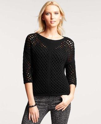 Ann Taylor Cotton Open Stitch Sweater