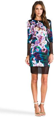 Milly RUNWAY Neon Floral Print Mesh Illusion Peplum Dress