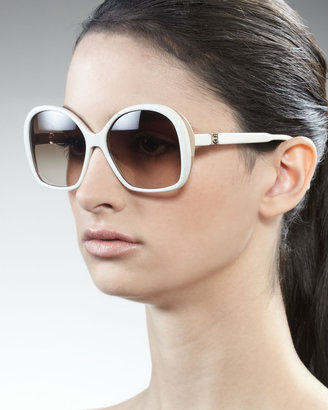 Carolina Herrera Two-Tone Sunglasses, Cream