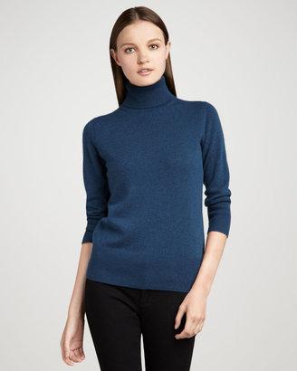 Neiman Marcus Basic 3/4 Sleeve Turtleneck