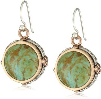"""Barse Patagonia"""" Genuine Turquoise Copper Sterling Drop Earrings"""