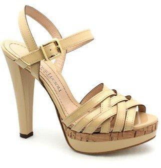 "Gastone Lucioli 4047"" Nude Patent Platform Sandals"