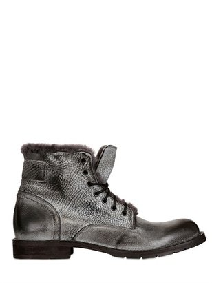 Brushed Leather Shearling Lace-Up Boot
