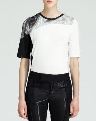 Helmut Lang Silver-Print Jersey Top