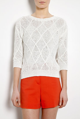 DKNY Cable Knit 3/4 Sleeve Jumper