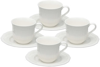 Mikasa Antique White Teacups and Saucers, Set of 4