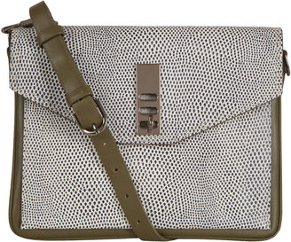 3.1 Phillip Lim Black and White Double Flap Racer Bag
