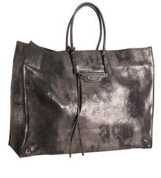 Balenciaga black metallic calfskin 'A3 Papier' tote
