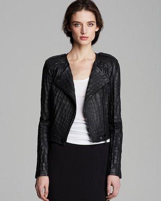 Rachel Zoe Leather Jacket - Everette Croc-Embossed Cropped