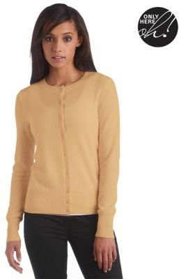 Lord & Taylor Petite Fall Neutrals Collection Cashmere Crewneck Cardigan