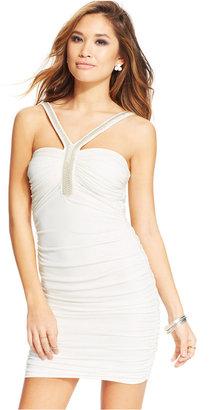 Trixxi Juniors' Beaded-Trim Bodycon Dress