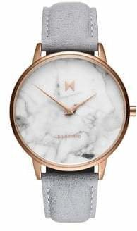 MVMT Boulevard Marble Beverly Stainless Steel Leather-Strap Watch