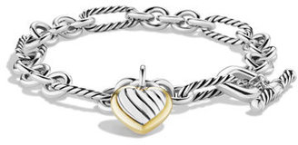David Yurman Cable Heart Charm Bracelet with Gold $425 thestylecure.com