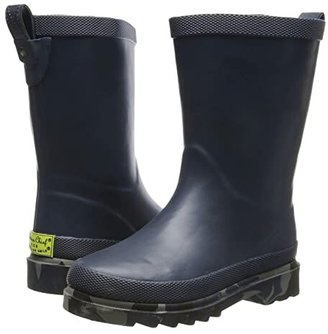 Western Chief Camo Sole Solid Rain Boot (Toddler/Little Kid/Big Kid) (Navy) Boys Shoes