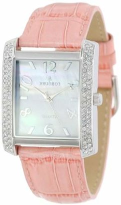 Peugeot Women's 325PK Silver-Tone Swarovski Crystal Accented Pink Leather Strap Watch