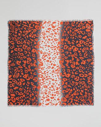 McQ by Alexander McQueen Animal-Print Square Scarf, Tangerine/Navy