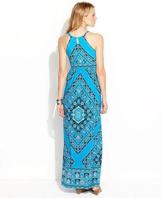 INC International Concepts Petite Dress, Halter Bandana-Print Maxi