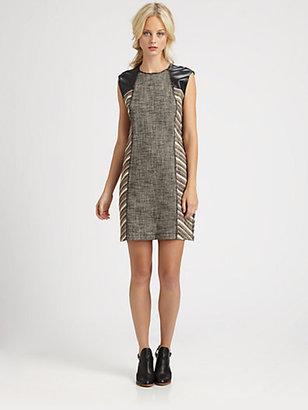 Derek Lam 10 Crosby Leather-Trim Sheath Dress