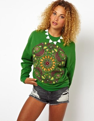 Asos Sweatshirt with Embroidered Folk Panel