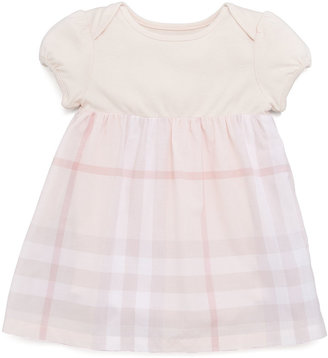 Burberry Knit/Check Combo Dress, Ice Pink