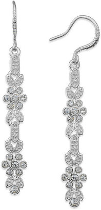 Charter Club Silver-Tone Crystal Flower Linear Earrings