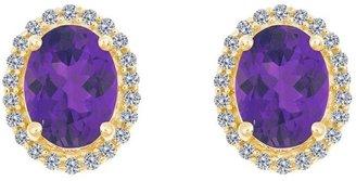 Premier Oval Gemstone & 1/5cttw Diamond Earrings, 14K