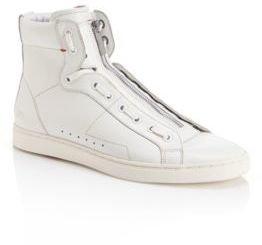 HUGO BOSS 'Posseo' - Leather High Top Zipper Sneakers