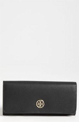 Tory Burch 'Robinson' Saffiano Leather Wallet Black One Size