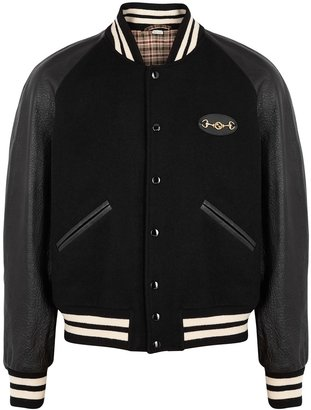 Gucci Black Wool And Leather Bomber Jacket
