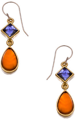 Evelyn Knight Gold Carnelian and Iolite Teardrop Earrings