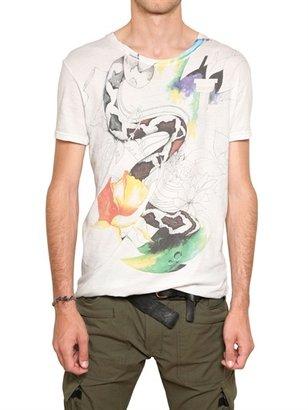Balmain Snake Print Cotton Jersey T-Shirt