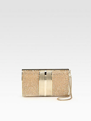 Judith Leiber Crystal Oval Sided Wristlet Clutch