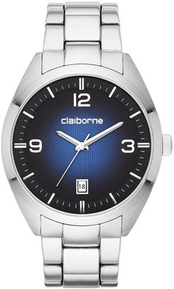 Claiborne Mens Round Blue Dial Stainless Steel Watch