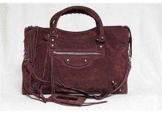 Balenciaga pristine (PR Wine Washed Suede City Satchel Bag