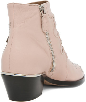 Chloé Susanna Leather Studded Bootie in Nude Pink