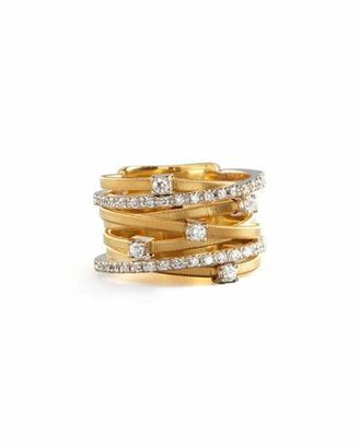 Marco Bicego Goa Seven-Row Mixed Gold Diamond Ring $4,500 thestylecure.com