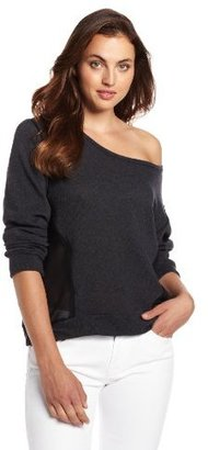 LnA Women's Matteo Long Sleeve Sweatshirt with Chiffon Cutout