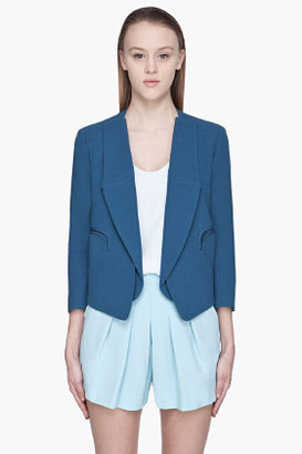 Chloé Blue textured wool open Blazer