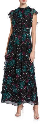 Shoshanna Triana Opaque Rose-Print Metallic Clip Dot Ruffle Gown