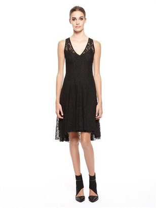 DKNY Sleeveless V-Neck Dress With Flare Skirt