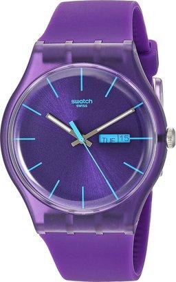 Swatch Men's SUOV702 Quartz Purple Dial Date Plastic Watch