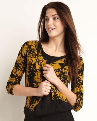 Vivienne Tam Vivienne Cropped Knit Cardigan, Mustard