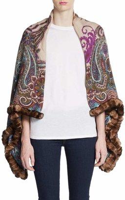 La Fiorentina Rabbit Fur-Trimmed Paisley Print Wrap